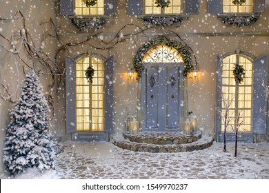 House decorated for Christmas outside, courtyard. Vintage street interior with tree, door and lights in windows. Winter christmas background.