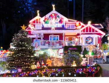 House decorated and lighted for Christmas and for New Year Eve . Night in Vancouver, Canada.