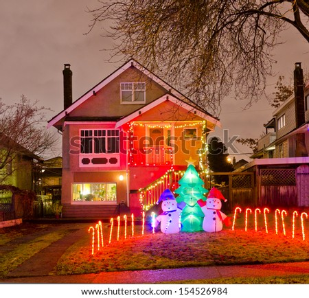 House Decorated Lighted Christmas New Year Stock Photo Edit Now
