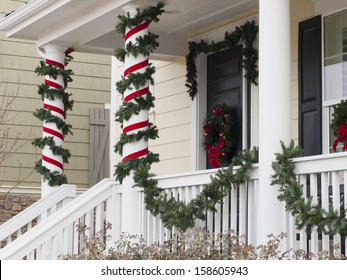 House decorated for the winter holidays.