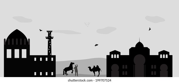 House in the Desert and camel.  Illustration.