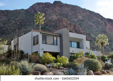 House in desert hills with landscape