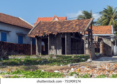 house destroyed, Aftermath of beach home damage caused by hurricane Nha Trang, Vietnam