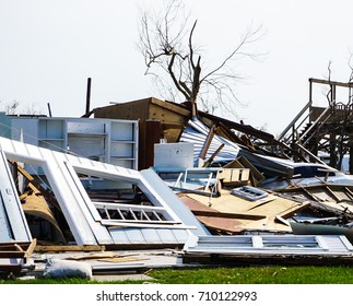 House destruction from powerful Hurricane Harvey on the Texas Coast