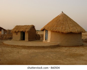 house of different shapes in an indian village