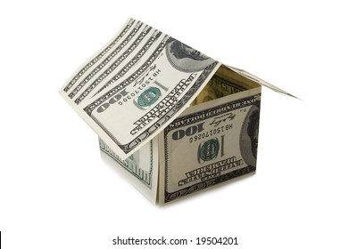 house from dollar notes isolated