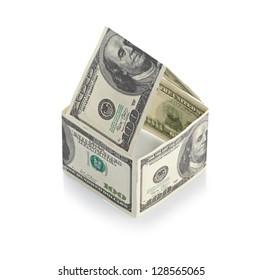 House of dollars. Isolated on white background