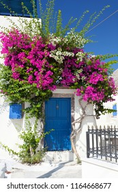 A house in Emborio with colorful Bougainvillea and a blue door in Santorini.