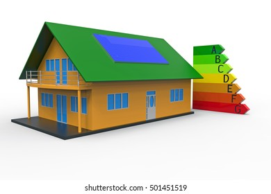 House and energy efficiency chart, 3d rendering, on the white background
