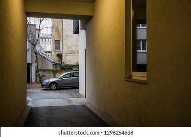 house entrance and backyard
