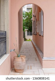 House entrance private alley with potted plant and dark pink walls. Garden with orange tree inside.