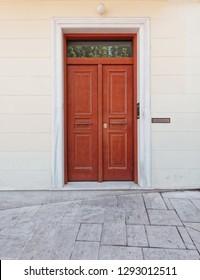 house entrance solid wood door, Athens Greece, Plaka neighborhood