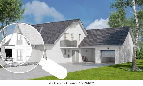 house examination check with magnifying glass for pollutant analysis (3D Rendering)