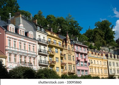 House facades in Karlovy Vary (Karlsbad, Carlsbad), Czech Republic