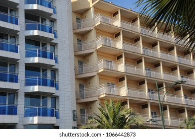 House facades, Lloret de Mar, Costa Brava, Spain