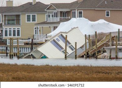 House Fallen into Bay in Nassau County after Hurricane Sandy