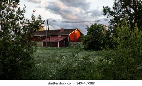 A house in a Finnish village in the summer