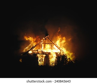 House fire in the night