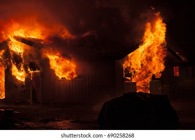 House fire at night
