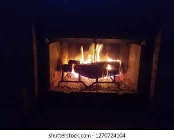 House flaming fireplace