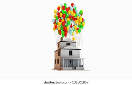 house flying supported by many balloons isolated on white background