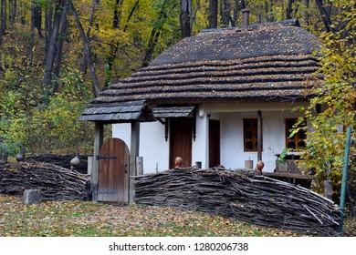 House in the forest. House against the backdrop of the autumn landscape.