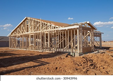 House frame under construction.
