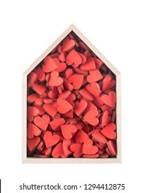 House full of love concept. Wooden house with many red hearts isolated on white background
