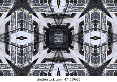 house in Galicia,geometric composition  abstract photography, windows, balconies, typical construction, abstract surrealism, abstract geometry,