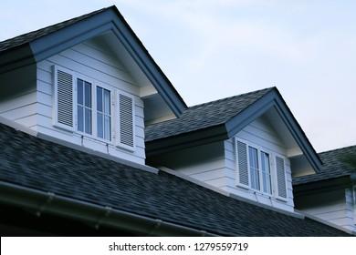 House garret closeup blur sky background