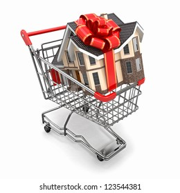 House gift with bow in shopping cart. 3d