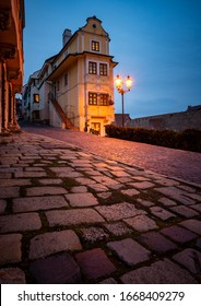 House of the Good Shepherd in Bratislava during evening with street lights