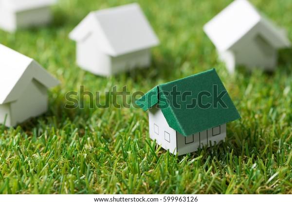 Maison au toit vert sur l'herbe blanche, pour l'immobilier ou le concept de maison écologique