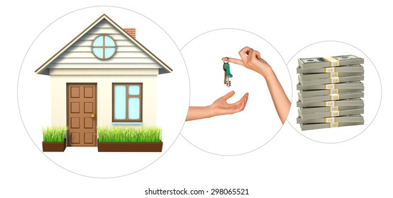 House with hand holding keys and stack of money on isolated white background