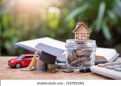 house and hat graduation model on money coins saving for concept need basic and finance insurance
