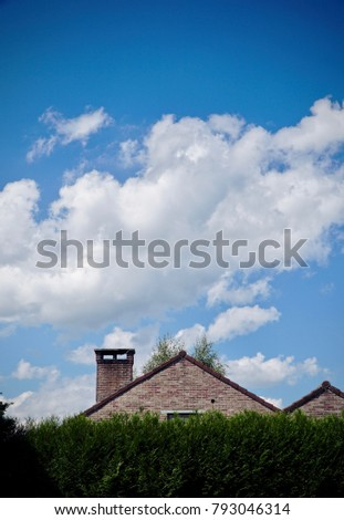 House hidden behind hedge under a blue summer sky