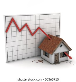 house hit by diagram of real estate market, isolated on white background