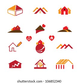 House (home) and office icons and designs for real estate and construction industry business requirements like business cards, brochures, websites, etc.