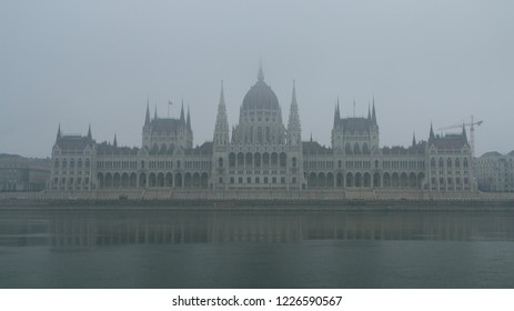 The house of hungarian parliament building in foggy weather, Budapest, Hungary