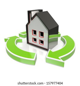 House Icon Shows Home Or Building Flipping