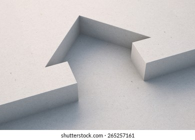 House icon./Symbol of the house from white cardboard. 3d render.