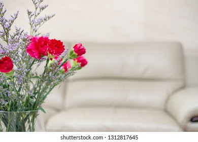 house indoor with beautiful carnations