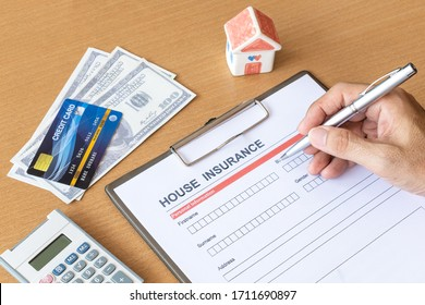 House insurance form with model and policy document