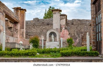 House interior in Ancient ruins of Pompei (Scavi di Pompei), Naples, Italy