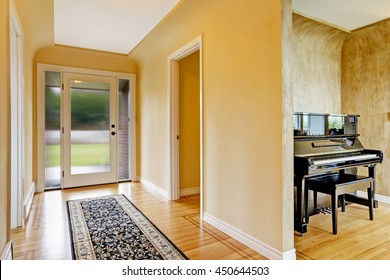 House interior. Entrance hallway with glass door, hardwood floor and  rug. View of piano
