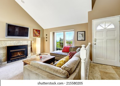 High Ceiling Living Room Fireplace Images Stock Photos Vectors Shutterstock