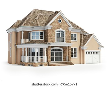 house isolated on white real estate concept 3d illustration - Free 3d House