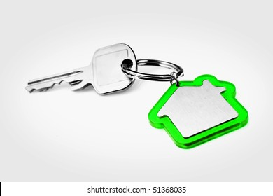 House key with a blank green key ring, fob for your logo or graphic