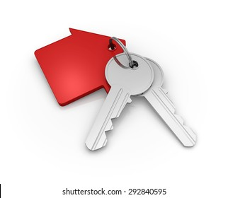 House Key Chain , 3d rendered image.