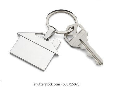 House Key and Key Chain Isolated on White Background.